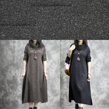 Load image into Gallery viewer, Oversized black Sweater dresses DIY high neck Ugly fall knitwear