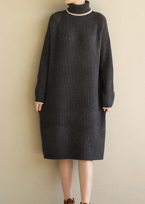 Oversized black gray Sweater outfits Refashionslim Largo high lapel collar sweater dress