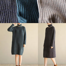 Load image into Gallery viewer, Oversized black gray Sweater outfits Refashionslim Largo high lapel collar sweater dress