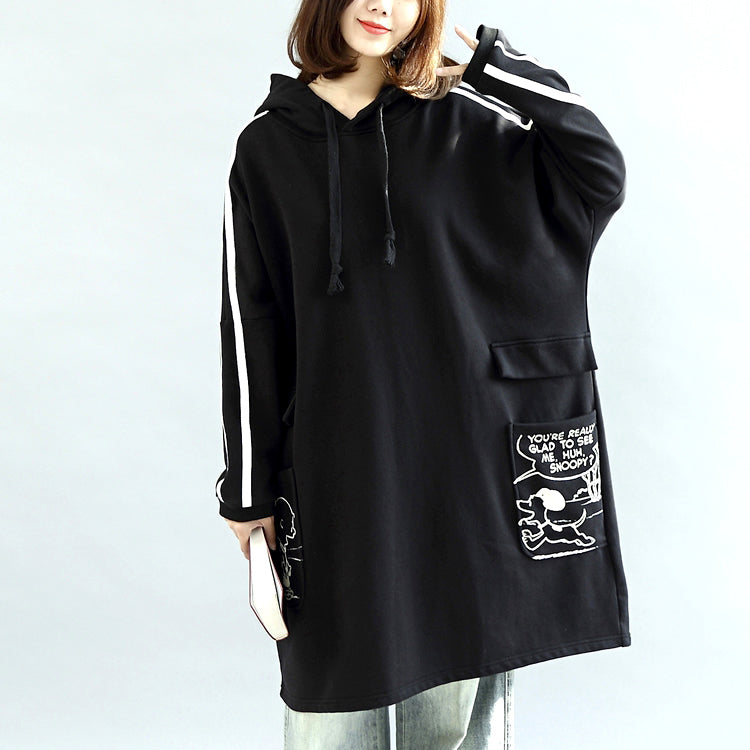 Oversized black hoodies cotton coats warm pullover plus size winter dresses