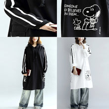 Load image into Gallery viewer, Oversized black hoodies cotton coats warm pullover plus size winter dresses