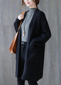 Oversized black knit cardigans fall fashion pockets baggy knit sweat coats