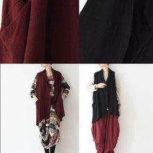 Load image into Gallery viewer, Oversized black linen vests loose linen cardigan sleeveless coats