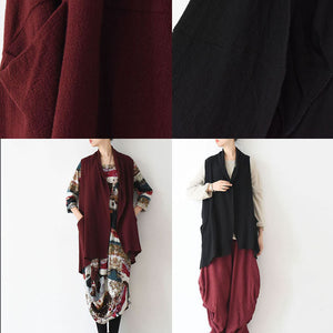 Oversized black linen vests loose linen cardigan sleeveless coats