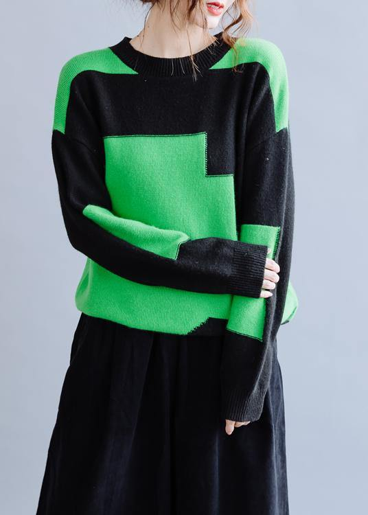 Oversized black patchwork green knitwear oversize o neck knitted pullover