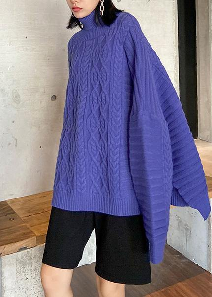 Oversized blue Sweater Blouse high neck thick casual knit sweat tops