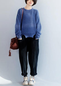 Oversized blue knit blouse open hem Loose fitting knit tops