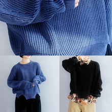 Load image into Gallery viewer, Oversized blue knit blouse open hem Loose fitting knit tops