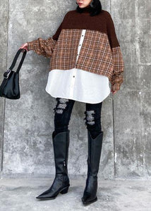Oversized chocolate Sweater Blouse lapel patchwork plus size spring knit tops