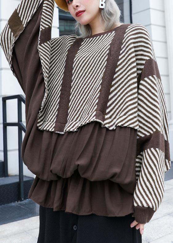 Oversized chocolate striped box top plus size clothing o neck ruffles patchwork knit sweat tops
