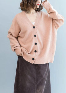 Oversized fall pink knit sweat tops plus size clothing v neck knit blouse