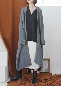 Oversized fall sweaters plus size clothing gray Batwing Sleeve knit cardigans