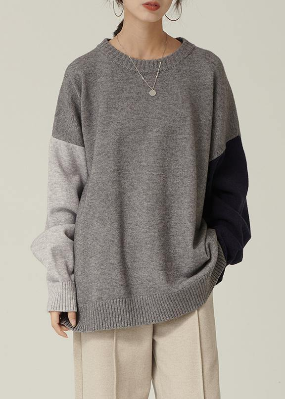 Oversized gray Sweater Blouse o neck patchwork oversized fall knitwear