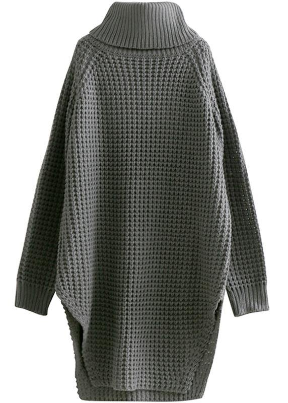 Oversized high neck side open Sweater Aesthetic Vintage gray daily knit dress