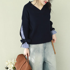 Oversized navy knitted tops plus size clothing v neck false two pieces sweaters