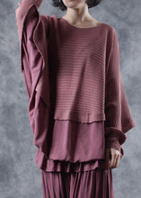 Load image into Gallery viewer, Oversized o neck red knit tops trendy plus size Batwing Sleeves tops
