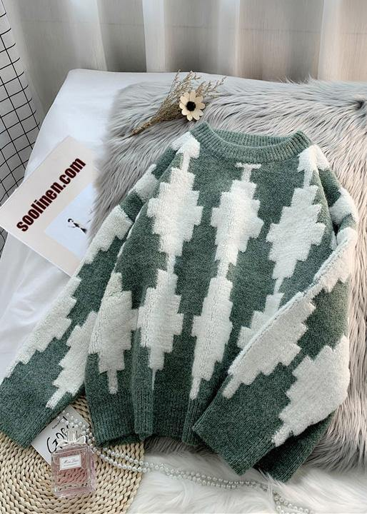 Oversized patchwork color clothes For Women warm spring fashion o neck sweaters