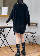Load image into Gallery viewer, Oversized prints black knitted blouse oversize v neck knitted clothes