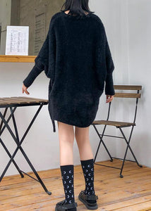 Oversized prints black knitted blouse oversize v neck knitted clothes