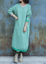 Load image into Gallery viewer, Oversized side open Sweater o neck Wardrobes Largo green plaid baggy knit dresses