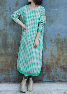 Oversized side open Sweater o neck Wardrobes Largo green plaid baggy knit dresses