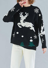 Load image into Gallery viewer, Oversized spring black embroidery knitted blouse Loose fitting o neck khitted clothes