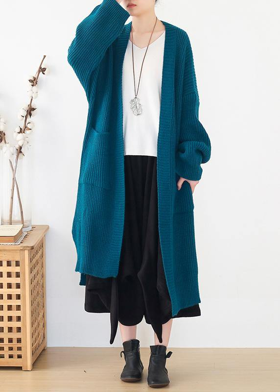 Oversized spring knit sweat tops oversize blue side open knitted cardigans