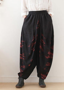 Pants red printed wide leg autumn cotton and linen literary linen harem pants