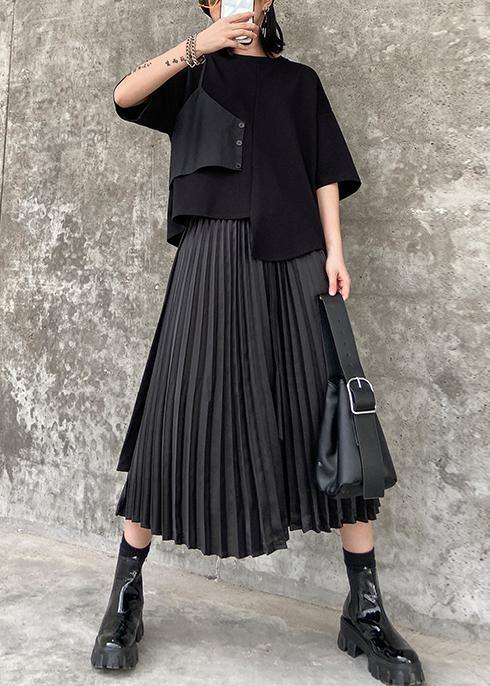 Pleated skirt high waist a-line fashion black stitching elastic waist skirt female summer