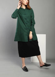 Plus Size Green low high design Chinese Button Spring Shirt Tops