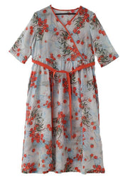 Plus Size Print Oriental Linen Tie Waist Summer Mid Dress