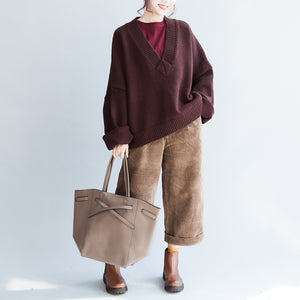 Plus size whiter cotton sweaters burgundy casual loose long knit pullover