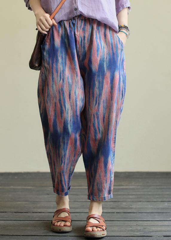 Printed casual plus size elastic waist nine-point harem pants