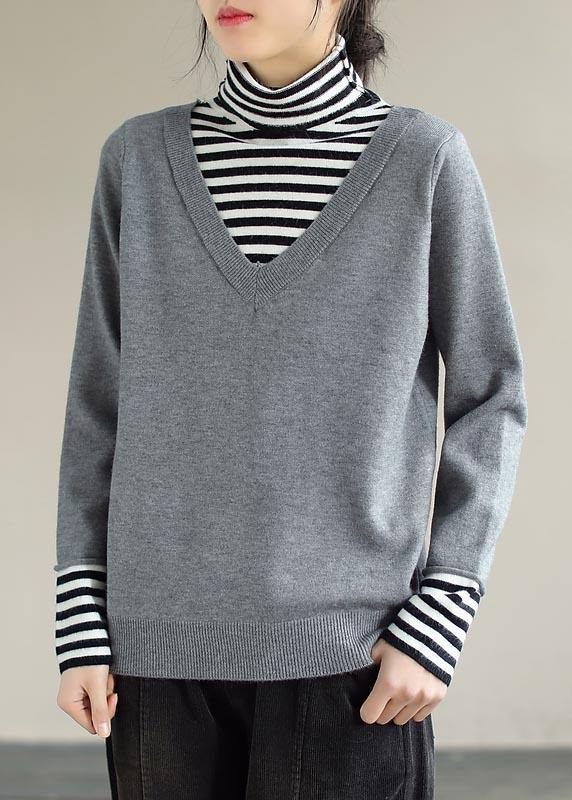 Pullover Light Gray Sweater Tops Patchwork High Neck Plus Size Spring Knit Sweat Tops