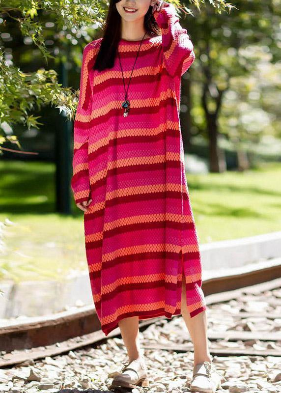 Pullover Sweater dresses RefashionStripe Split Long Sleeve Woollen Dress