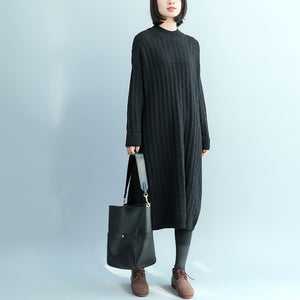 cb5a89e840c5 Pullover Sweater dresses Women O neck black oversized knitted dress ...