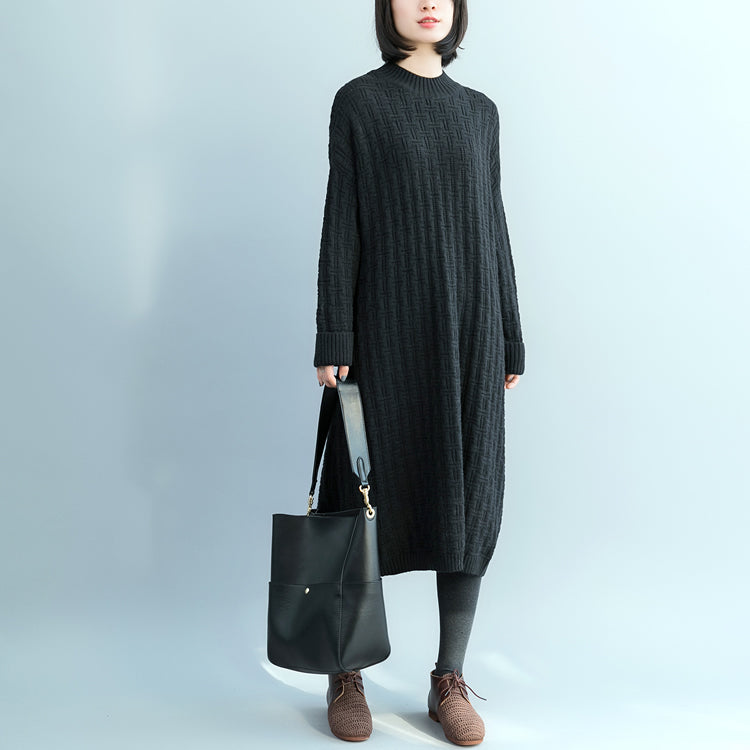 4f750b5902 Pullover Sweater dresses Women O neck black oversized knitted dress