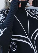 Load image into Gallery viewer, Pullover black print knit wear plus size clothing o neck Batwing Sleeve Blouse