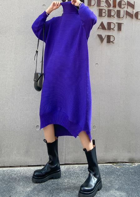 Pullover blue Sweater dress outfit Street Style high neck low high design baggy fall knitted dress