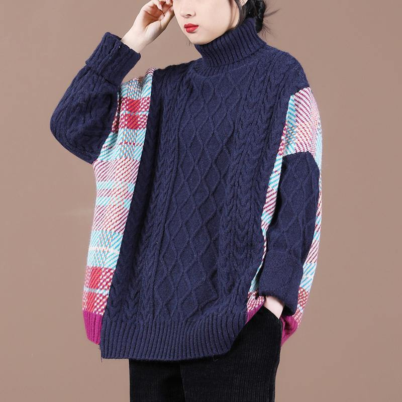 Pullover blue plaid knit tops spring fashion high neck knit blouse
