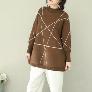 Pullover brown knitted tops plus size o neck knitwear