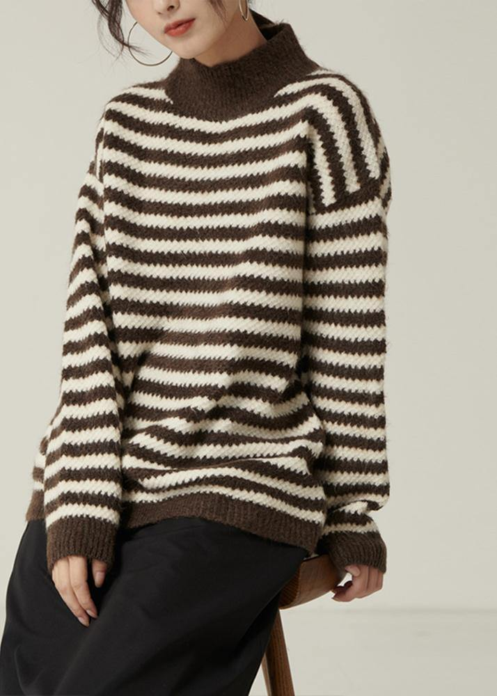 Pullover fall brown striped knit tops Loose fitting high neck knitted pullover
