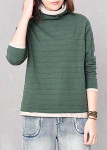 Pullover green knitted blouse plus size high neck knitwear false two pieces