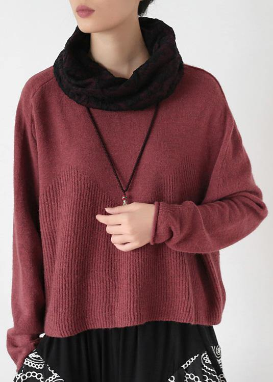 Pullover high neck red knit sweat tops trendy plus size Batwing Sleeve clothes