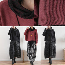 Load image into Gallery viewer, Pullover high neck red knit sweat tops trendy plus size Batwing Sleeve clothes
