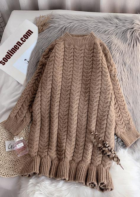 Pullover khaki Sweater Wardrobes Street Style o neck thick oversize fall knitwear