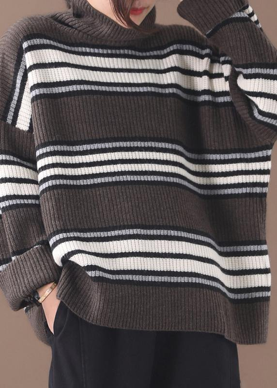 Pullover khaki striped knitted clothes plus size winter knitted blouse high neck