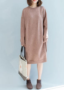 Pullover pink Sweater dresses Quotes o neck fall knitted dress