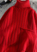 Load image into Gallery viewer, Pullover red clothes For Women one big pockets Loose fitting high neck knitwear