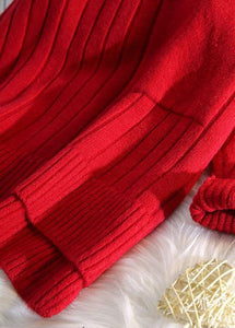 Pullover red clothes For Women one big pockets Loose fitting high neck knitwear